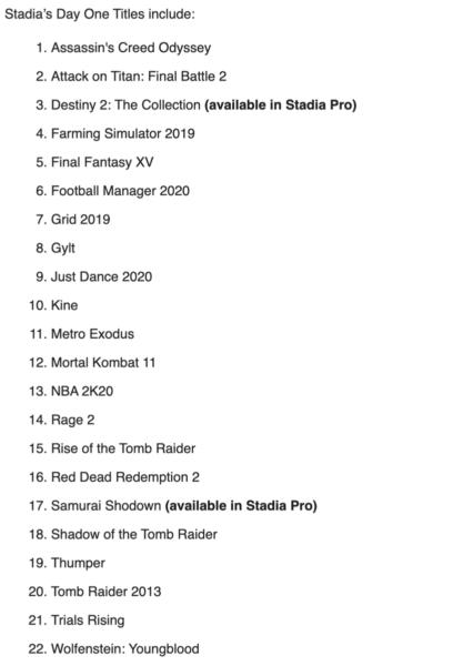 В Stadia на этапе запуска будет 22 игры