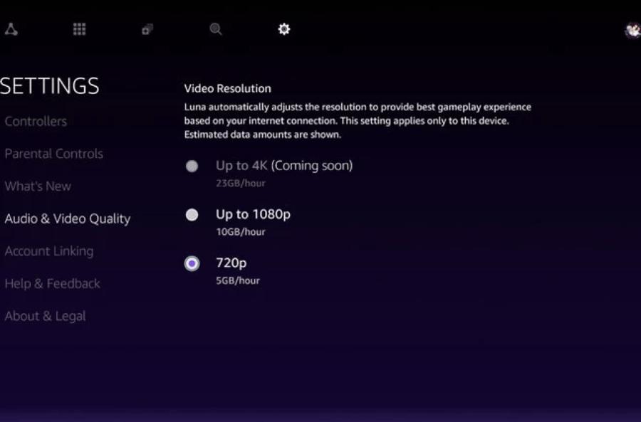 В Amazon Luna появился режим 720p